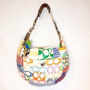 Coach Multicolor Patchwork Hobo Shoulder Bag